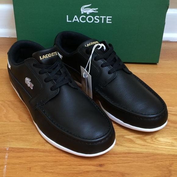 79b65dbb8 Men s LACOSTE  Dreyfus  Black Leather Boat Shoes